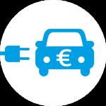 Weißes kreisförmiges Symbol eines Elektrofahrzeugs mit einem Eurozeichen darauf.