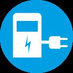 Kreisförmiges blaues Symbol auf dem in weiß eine Elektroladesäule abgebildet ist.