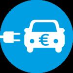 Blaues kreisförmiges Symbol eines Elektrofahrzeugs mit einem Eurozeichen darauf.