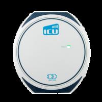 Darstellung der ICU Compact Mini Ladebox vor weißem Hintergrund. Das Design der runden weißen Ladebox ist schlicht und einfach gehalten.