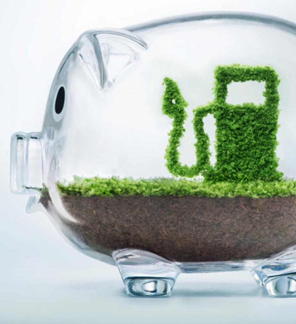 Sparschwein aus Glas. In dem Sparschwein ist Erde und Rasen zu erkennen. Der grüne Rasen hat sich zu einer Ladesäule geformt.