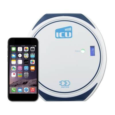 Frontalblick auf die ICU Compact Mini Ladebox. Daneben ist ein iPhone zu sehen, welches verdeutlicht wie klein und kompakt die ICU Compact Mini Ladebox ist.