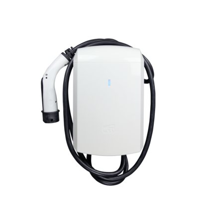 Ansicht von Hinten der ICU Eve Mini Ladebox. Das Ladekabel ist um die Ladebox gewickelt.